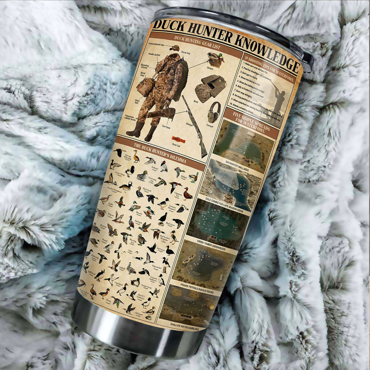 duck hunting knowledge all over print stainless steel tumbler 5