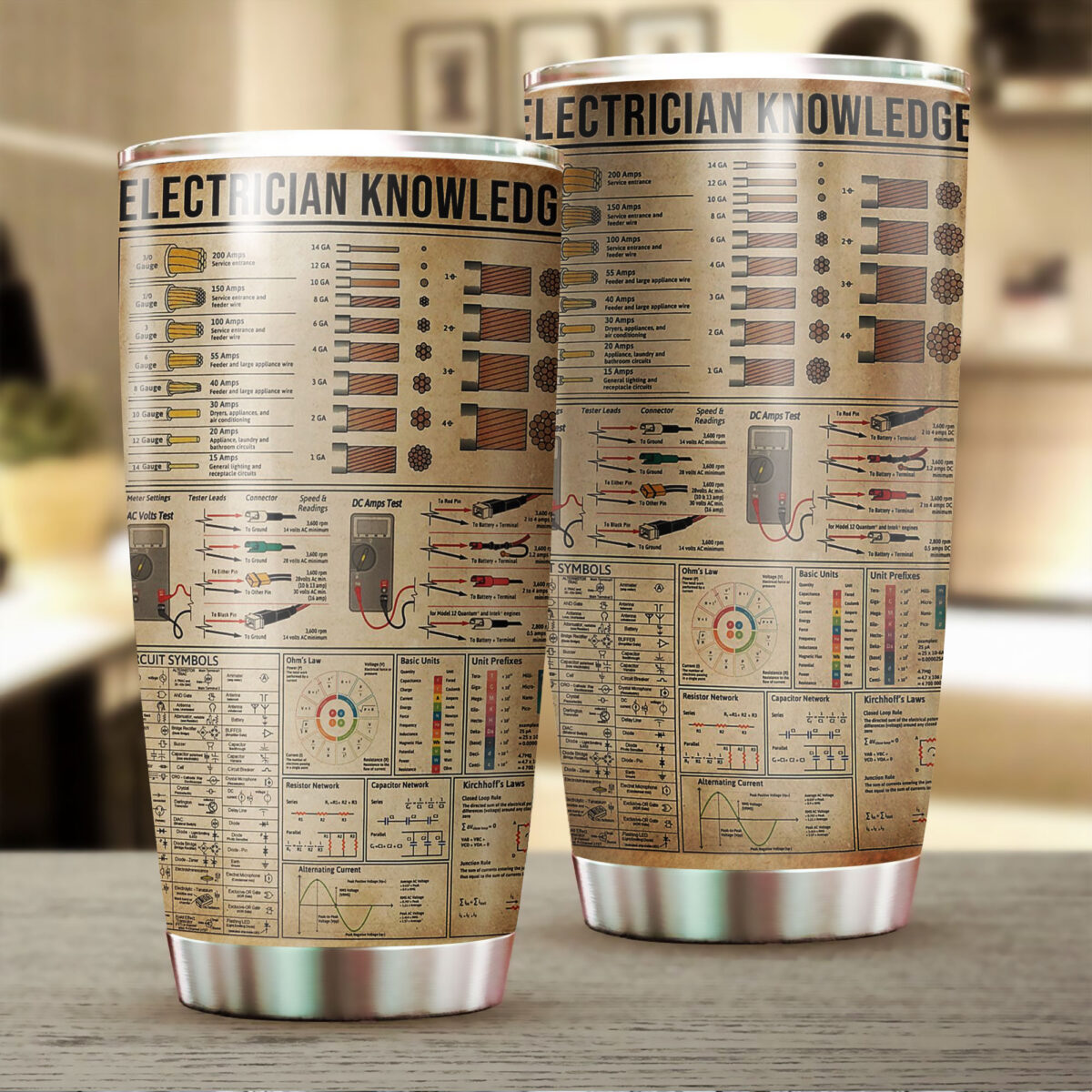 electrician knowledge all over print stainless steel tumbler 2