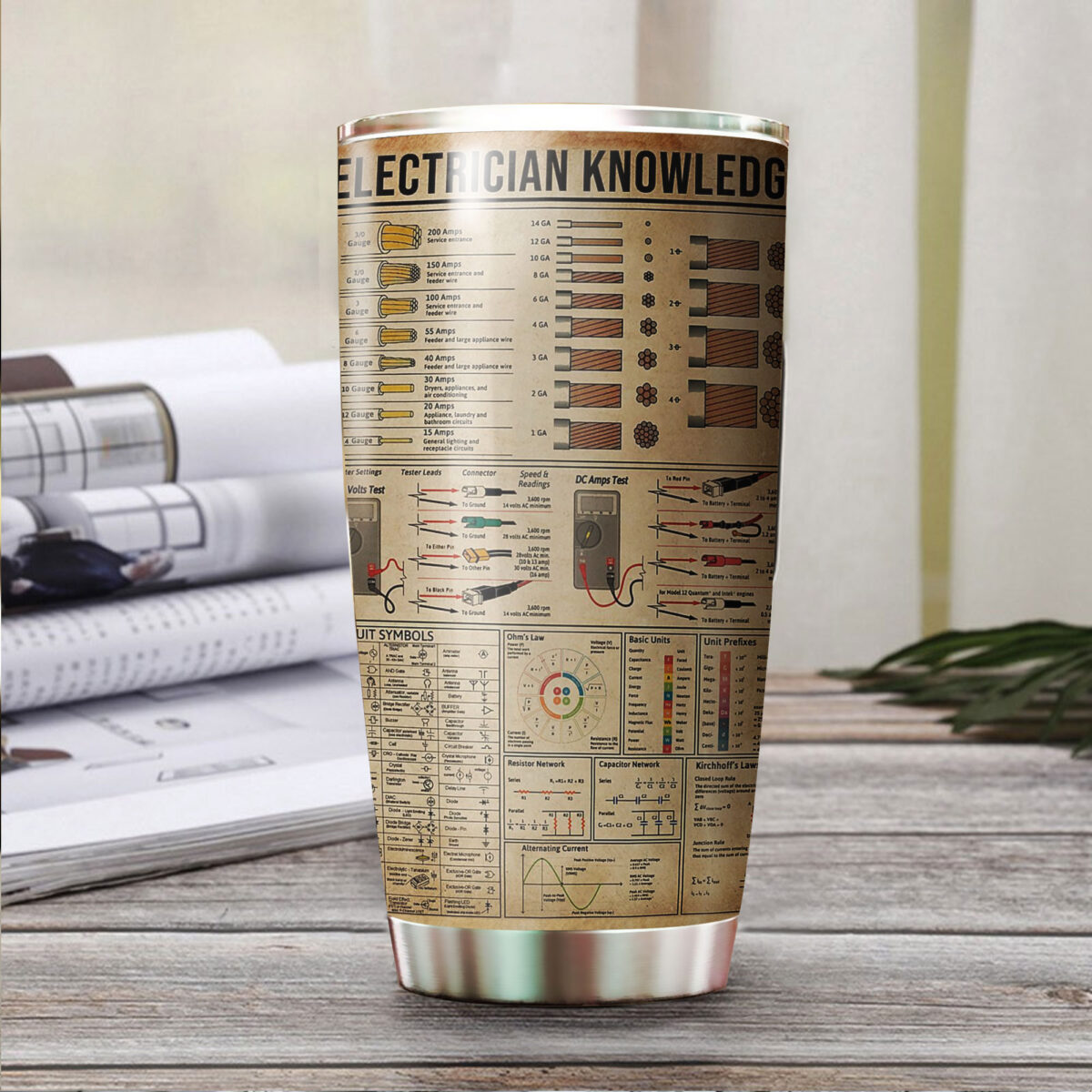 electrician knowledge all over print stainless steel tumbler 3