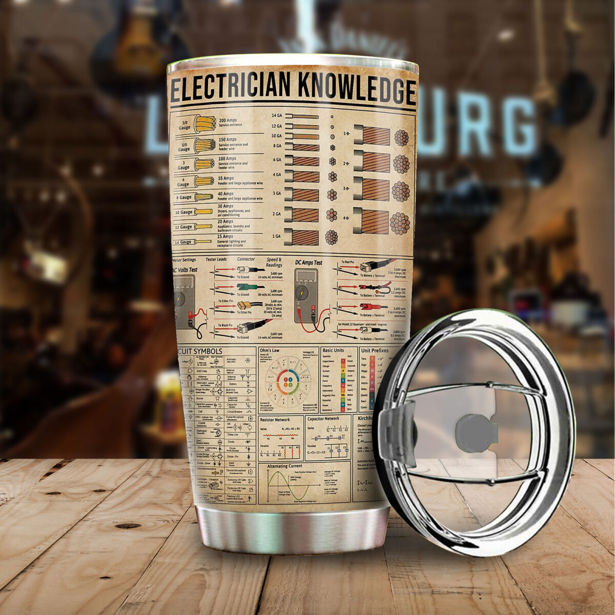 electrician knowledge all over print stainless steel tumbler 4