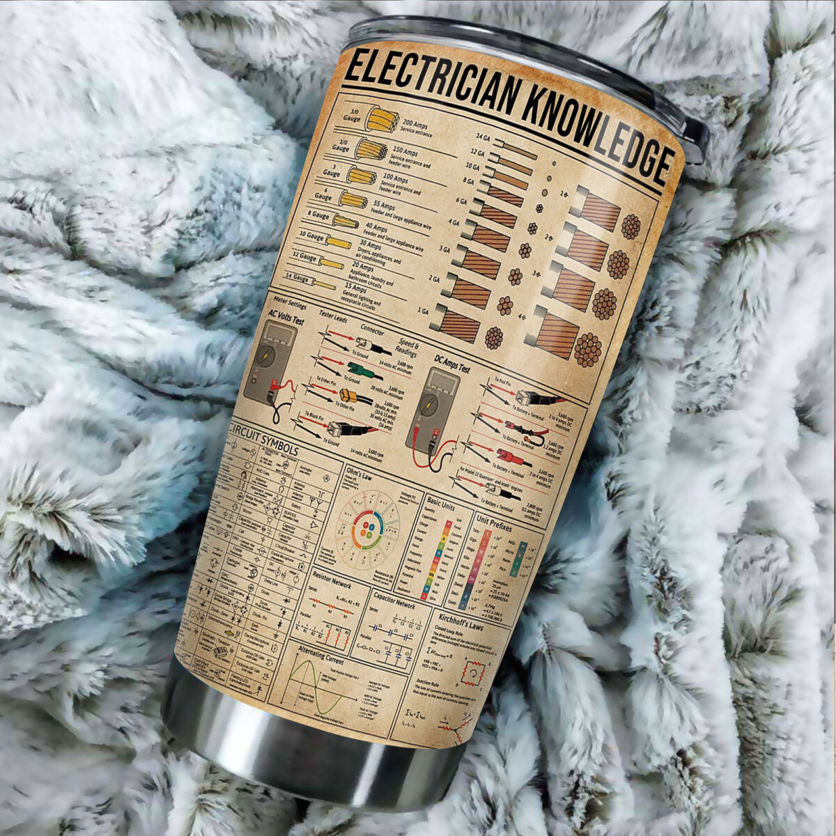 electrician knowledge all over print stainless steel tumbler 5