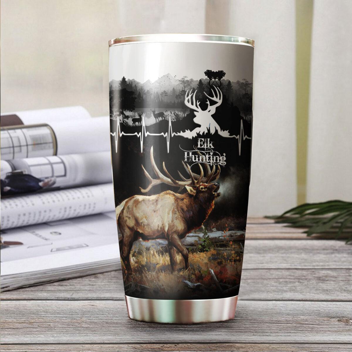 elk hunting for hunter all over print stainless steel tumbler 2
