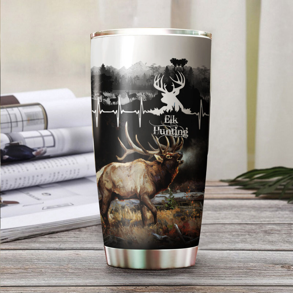 elk hunting for hunter all over print stainless steel tumbler 4