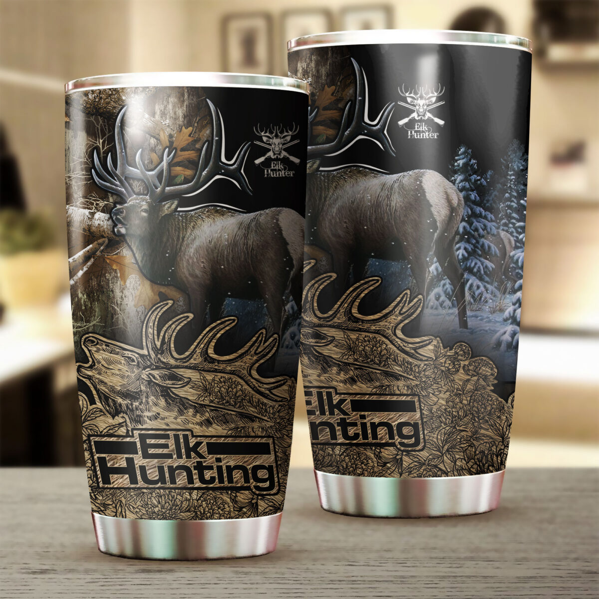 elk hunting in the forest all over print stainless steel tumbler 3