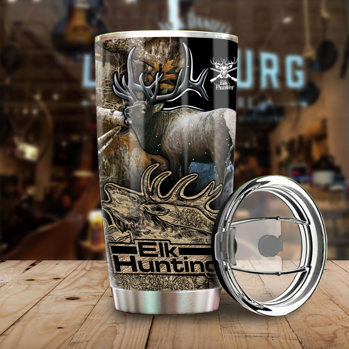 elk hunting in the forest all over print stainless steel tumbler 4