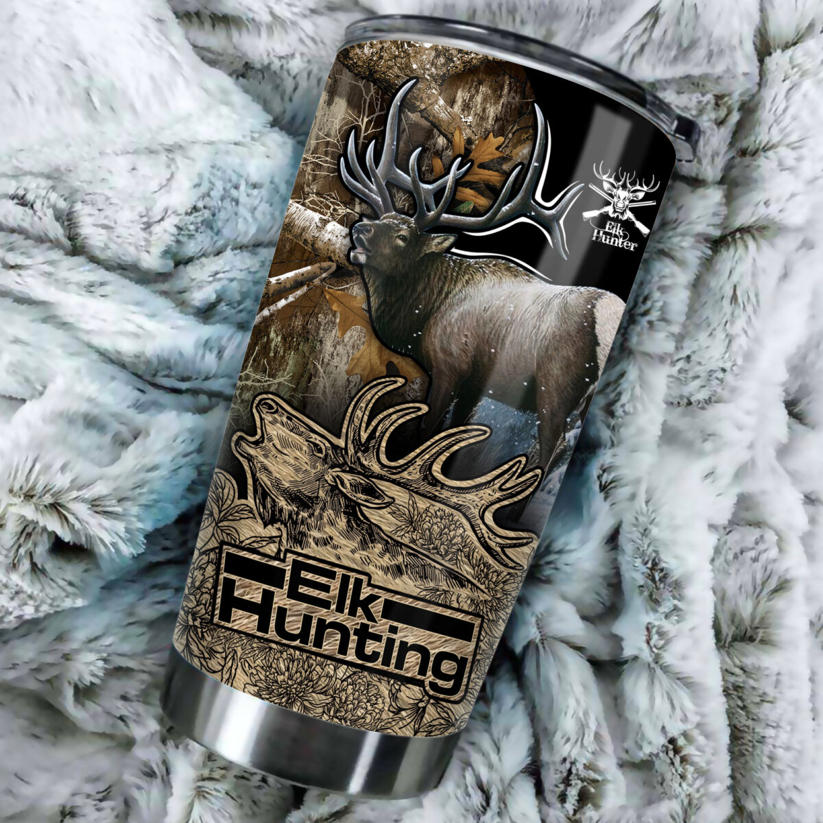 elk hunting in the forest all over print stainless steel tumbler 5