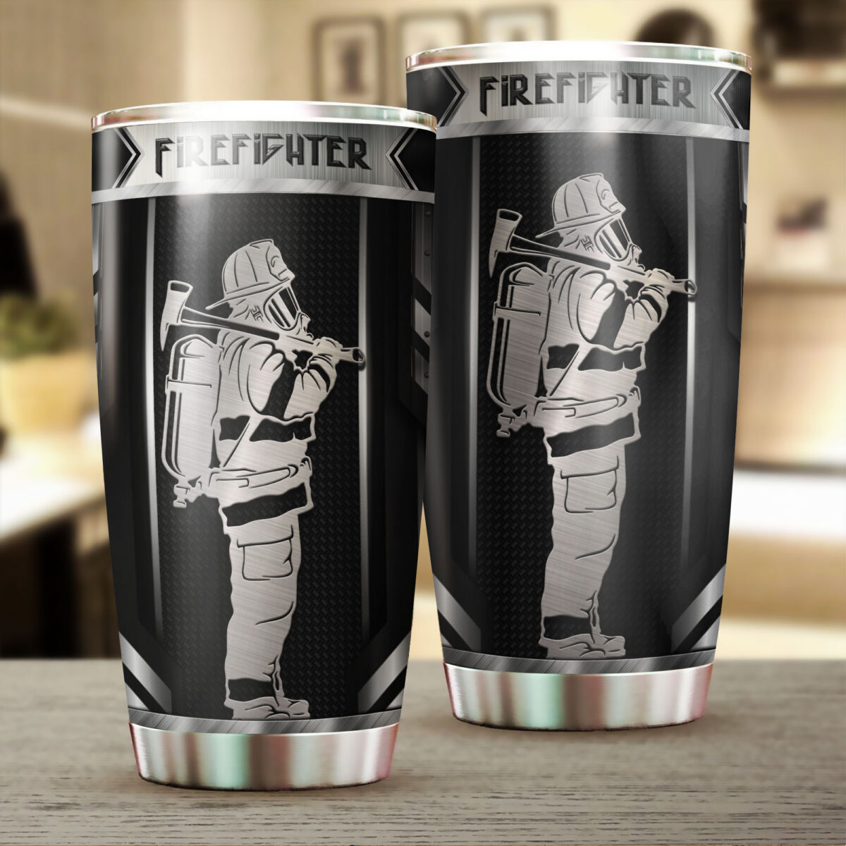 firefighter metal all over print stainless steel tumbler 2