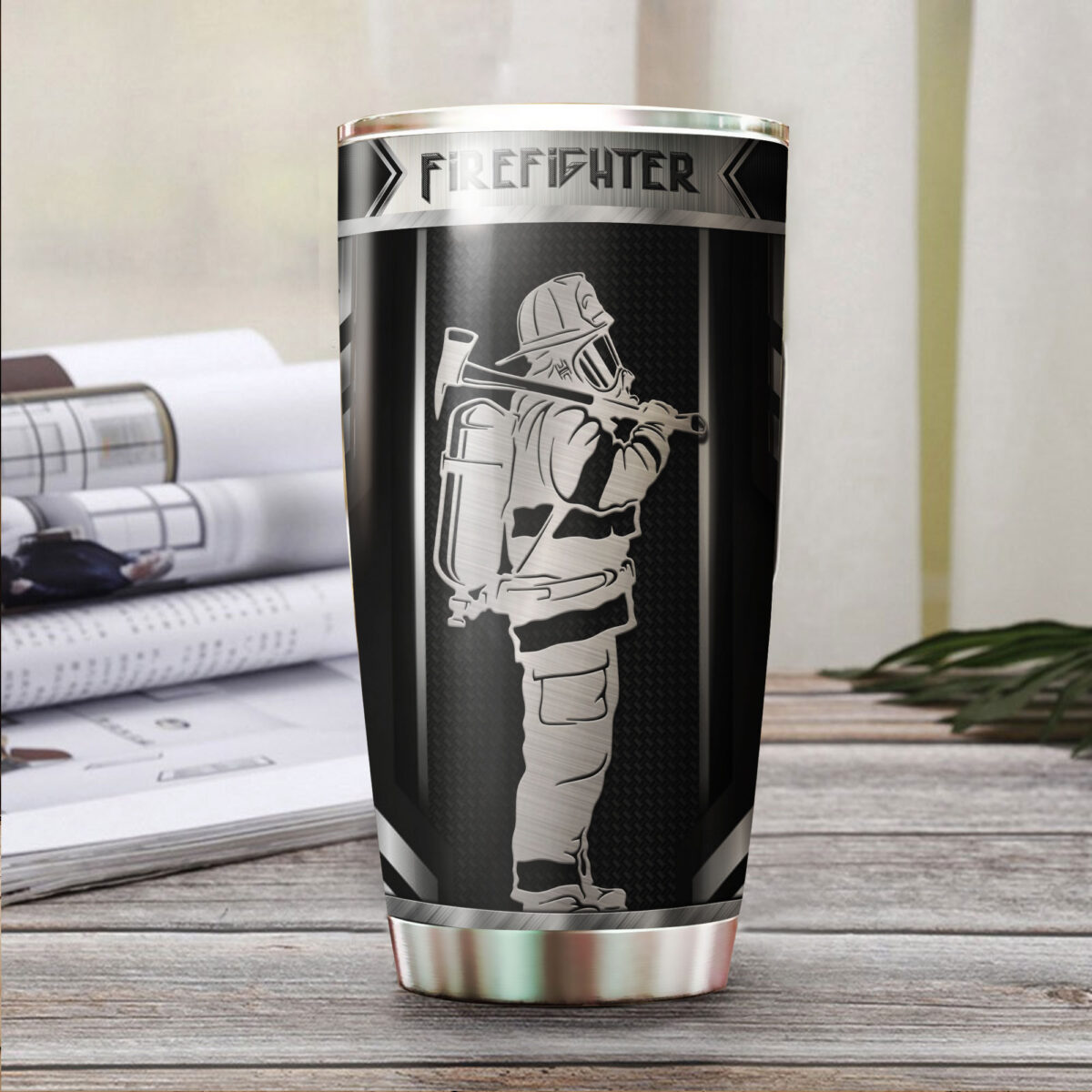 firefighter metal all over print stainless steel tumbler 3
