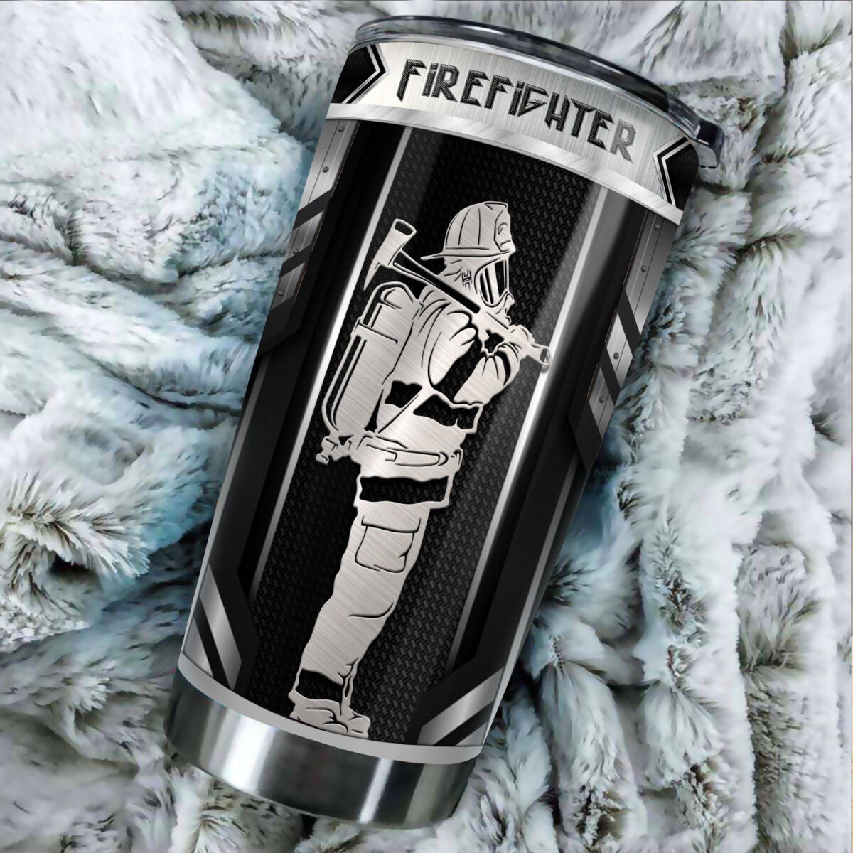 firefighter metal all over print stainless steel tumbler 4