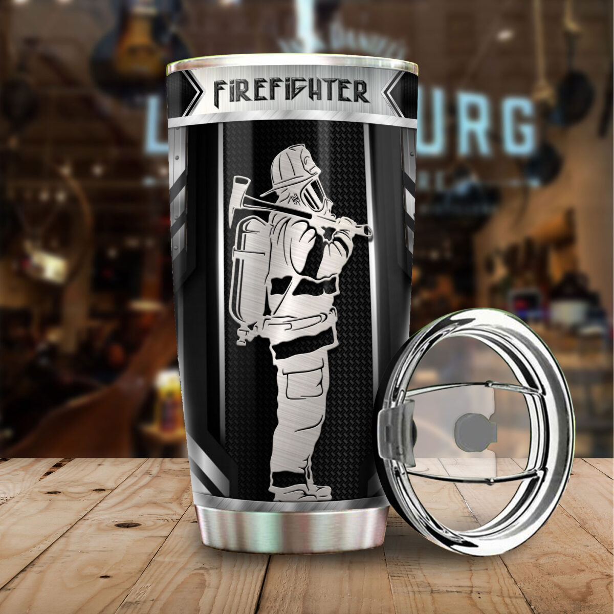 firefighter metal all over print stainless steel tumbler 5