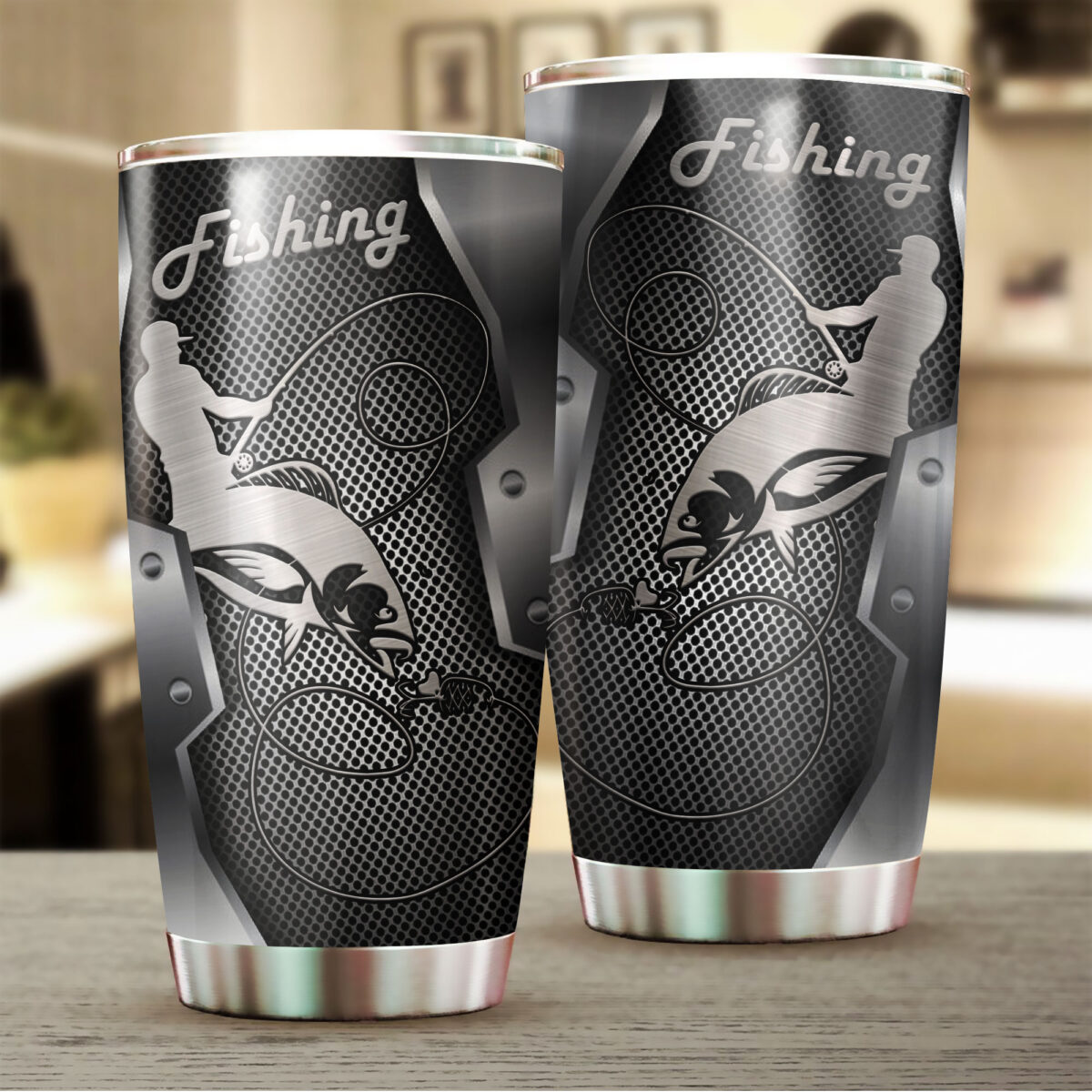 fishing metal all over print stainless steel tumbler 2