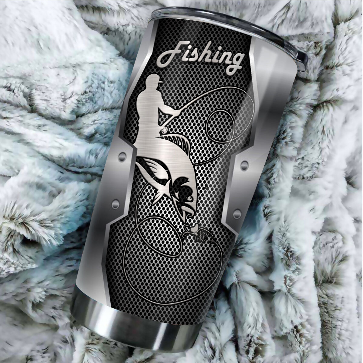 fishing metal all over print stainless steel tumbler 3