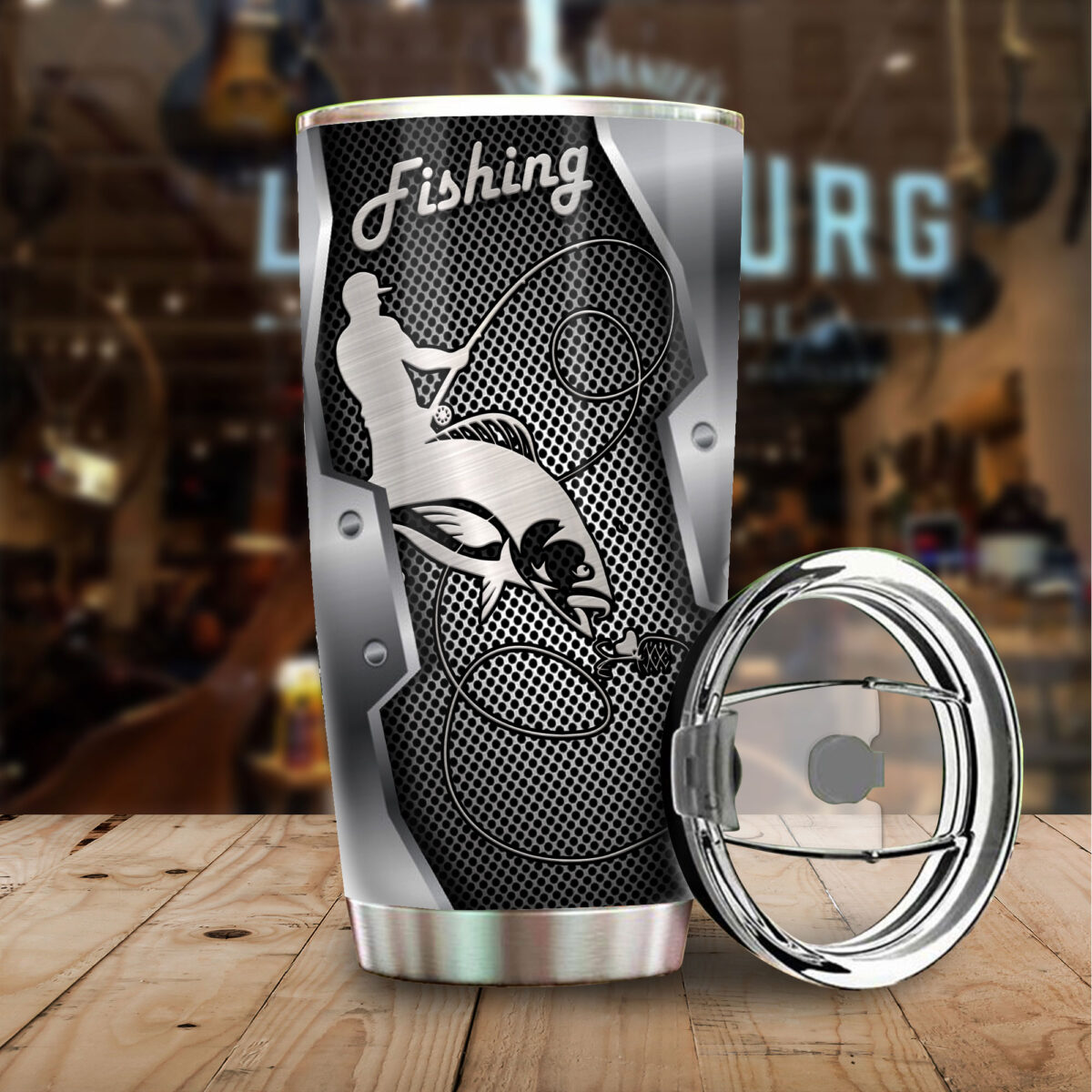 fishing metal all over print stainless steel tumbler 4