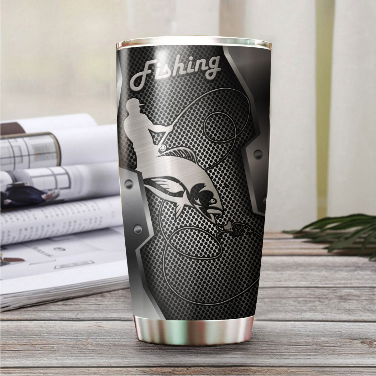 fishing metal all over print stainless steel tumbler 5