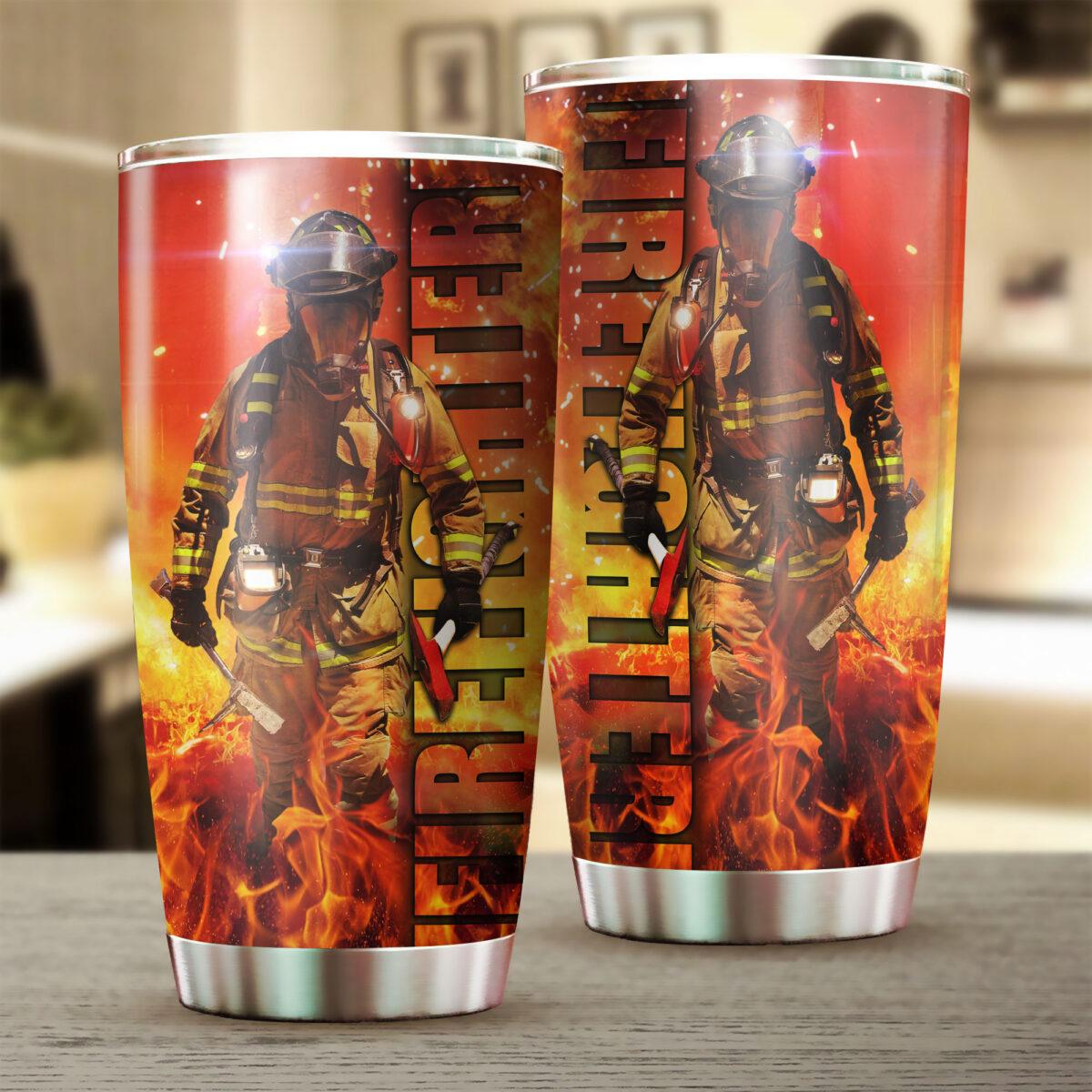 for firefighter all over print stainless steel tumbler 2