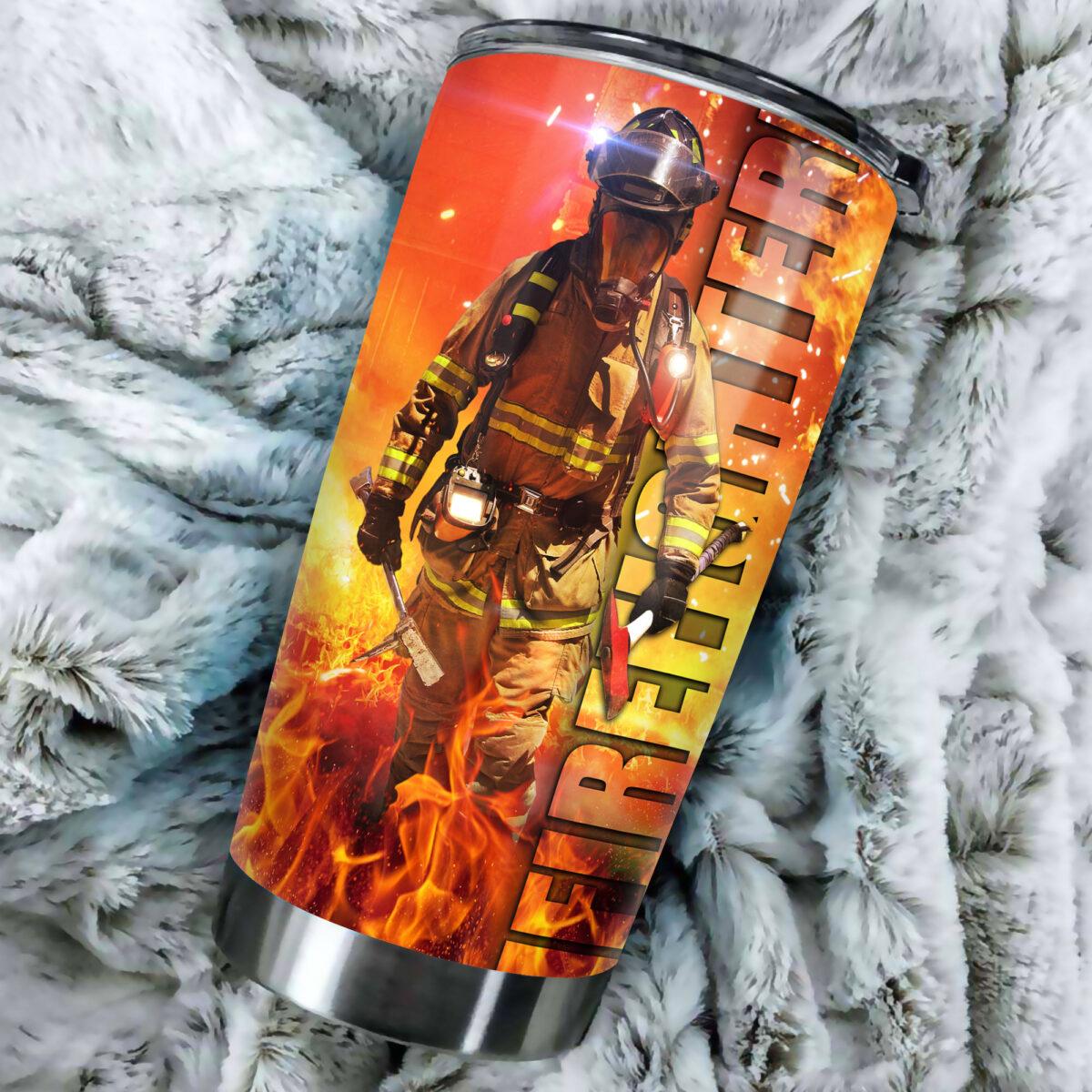 for firefighter all over print stainless steel tumbler 3