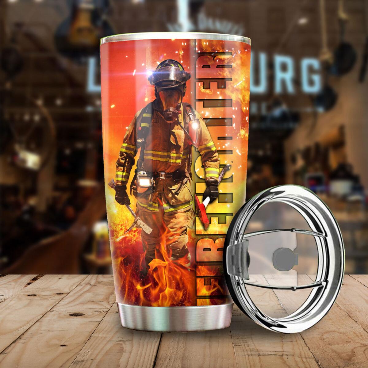 for firefighter all over print stainless steel tumbler 4
