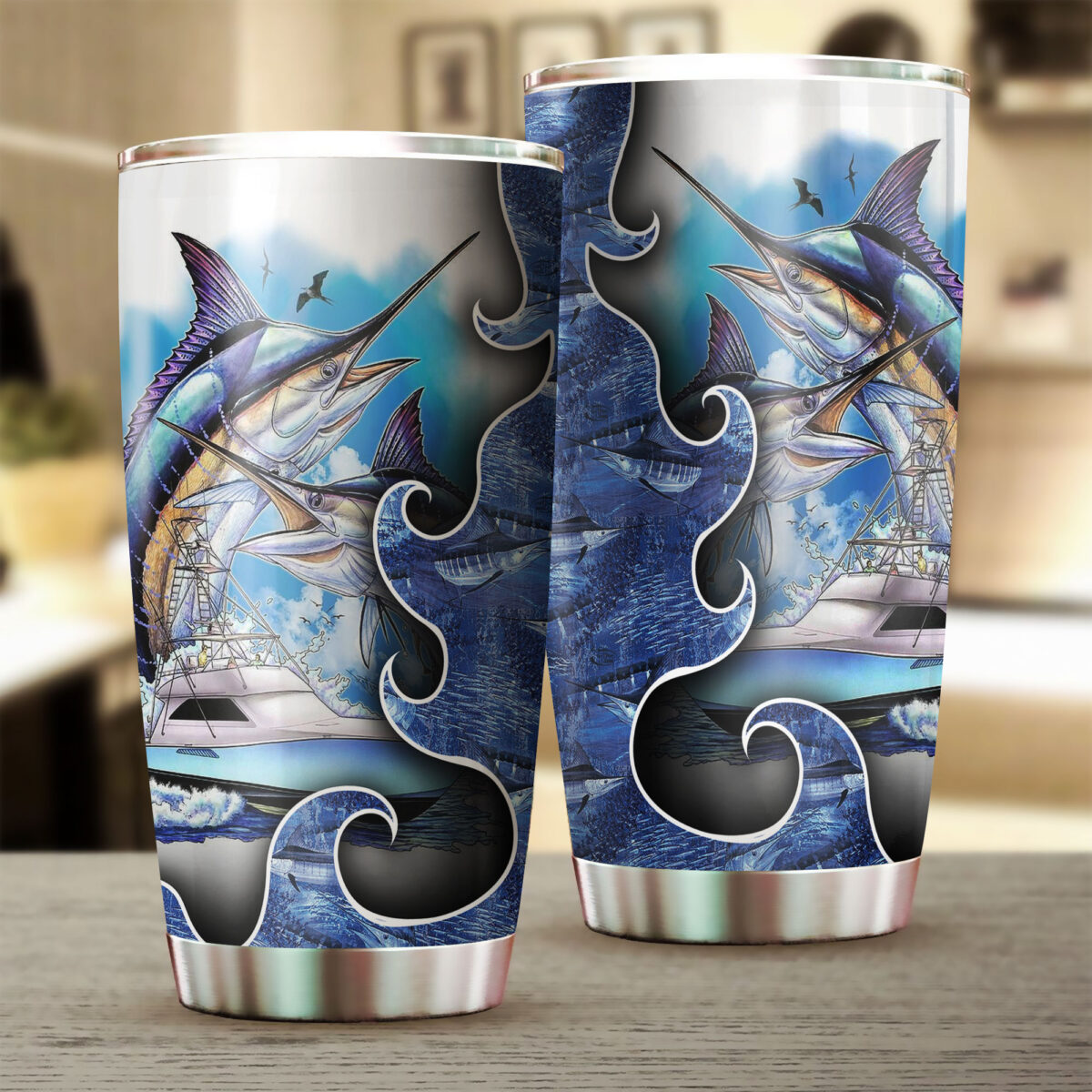 for fisher love fishing all over print stainless steel tumbler 5