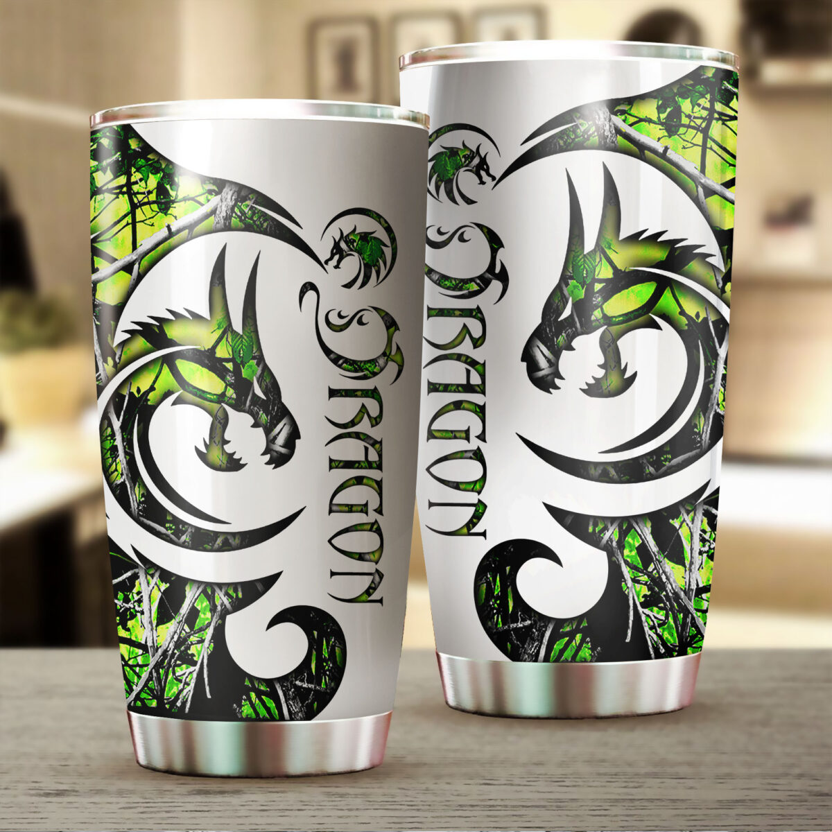 green neon dragon all over print stainless steel tumbler 2
