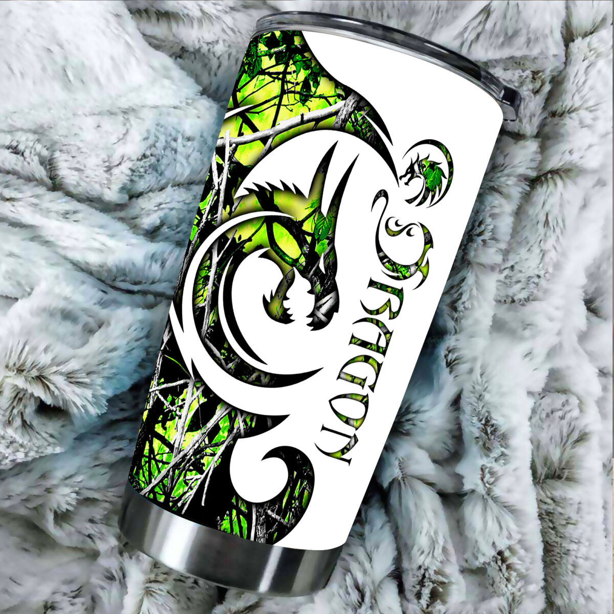 green neon dragon all over print stainless steel tumbler 5