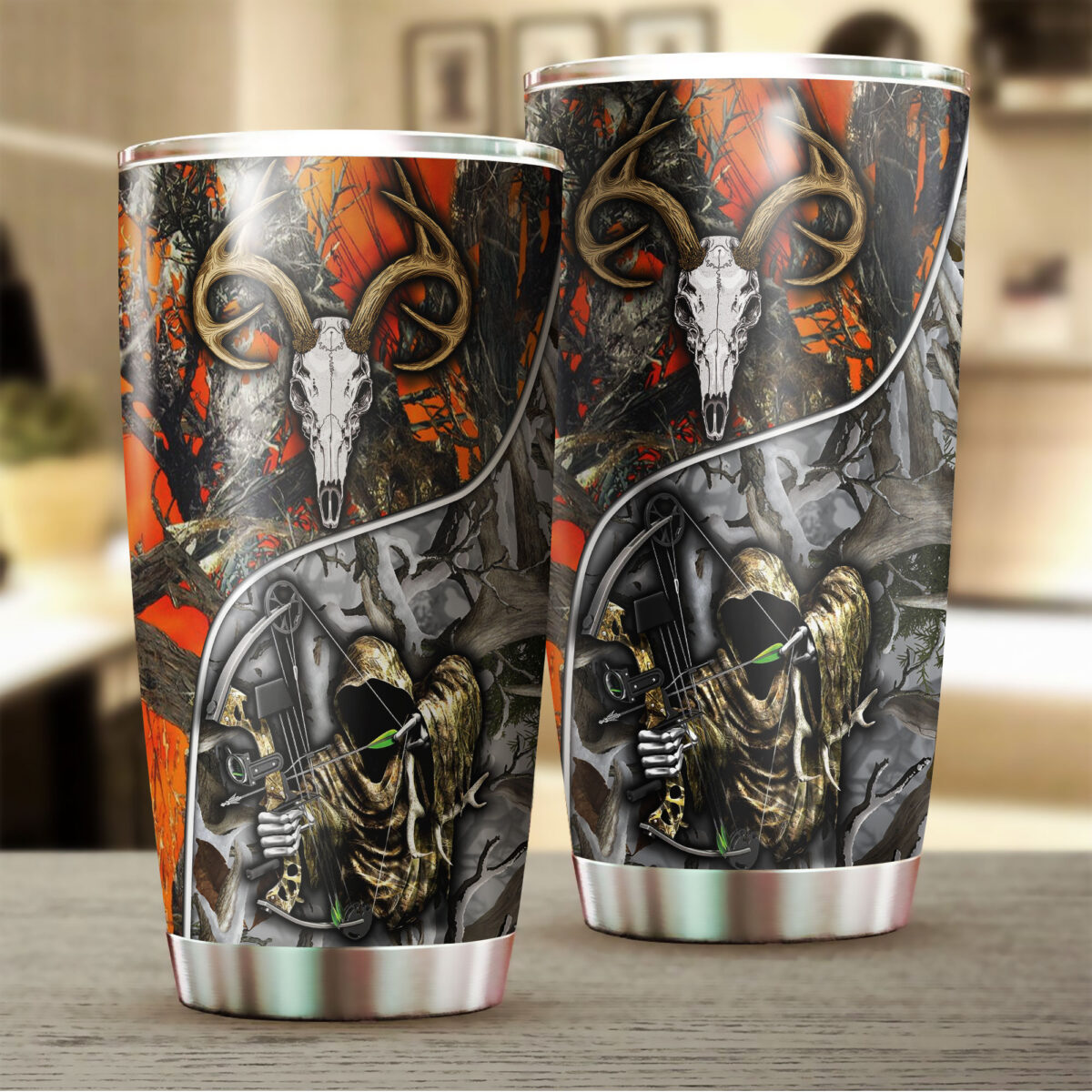 grim reaper bow hunter camo all over print stainless steel tumbler 2