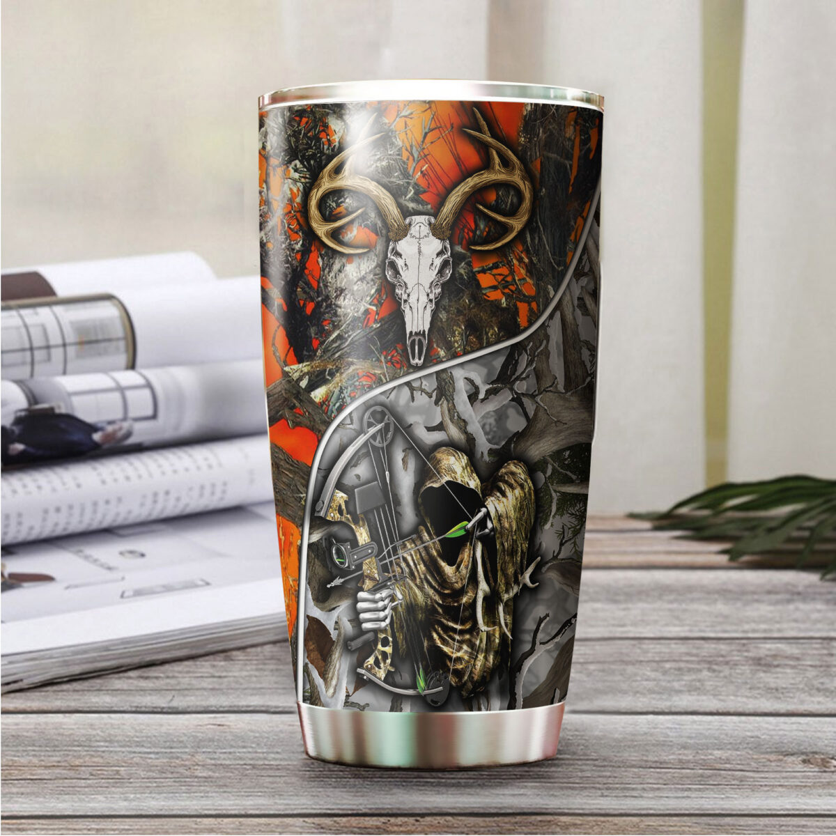 grim reaper bow hunter camo all over print stainless steel tumbler 3