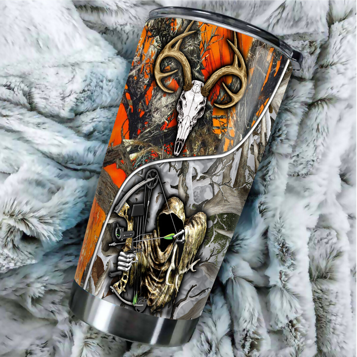 grim reaper bow hunter camo all over print stainless steel tumbler 4