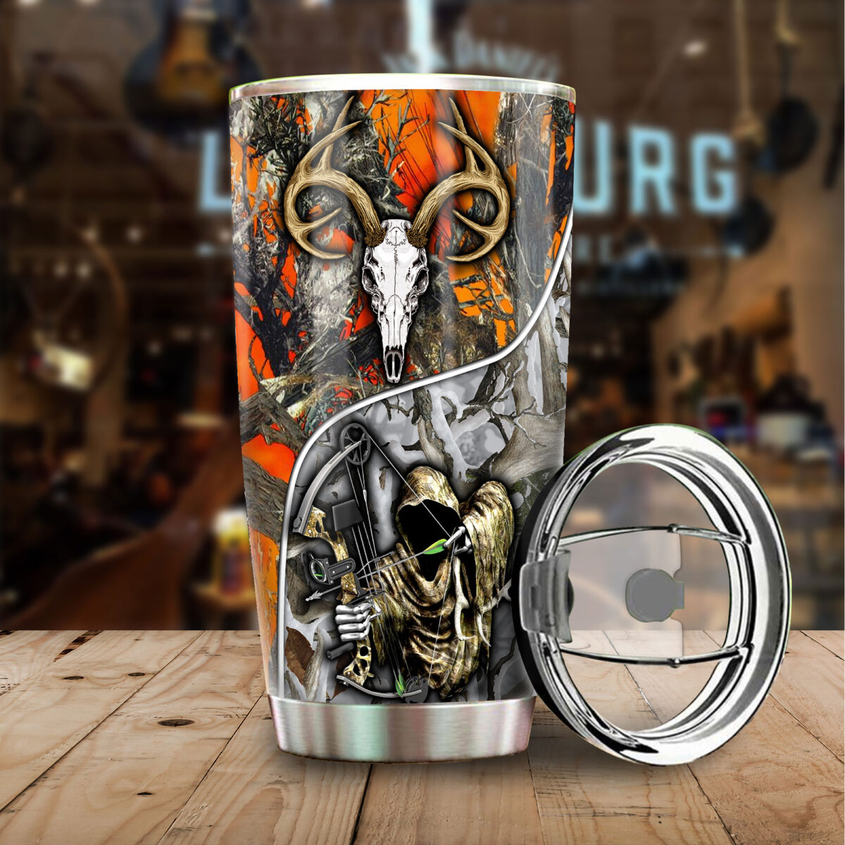 grim reaper bow hunter camo all over print stainless steel tumbler 5