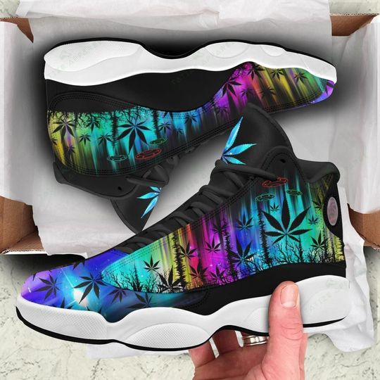 hologram weed leaf alien all over printed air jordan 13 sneakers 1