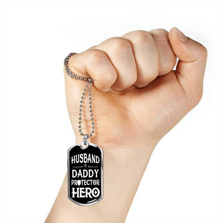 husband daddy protector hero husband gift dog tag 4