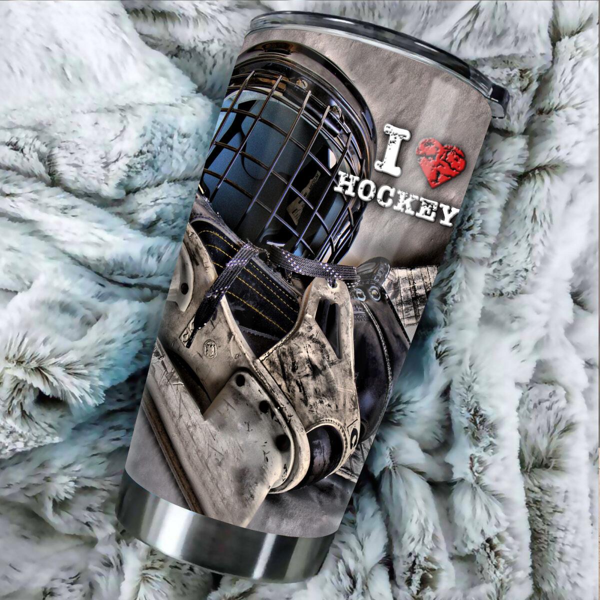 i love hockey all over print stainless steel tumbler 4