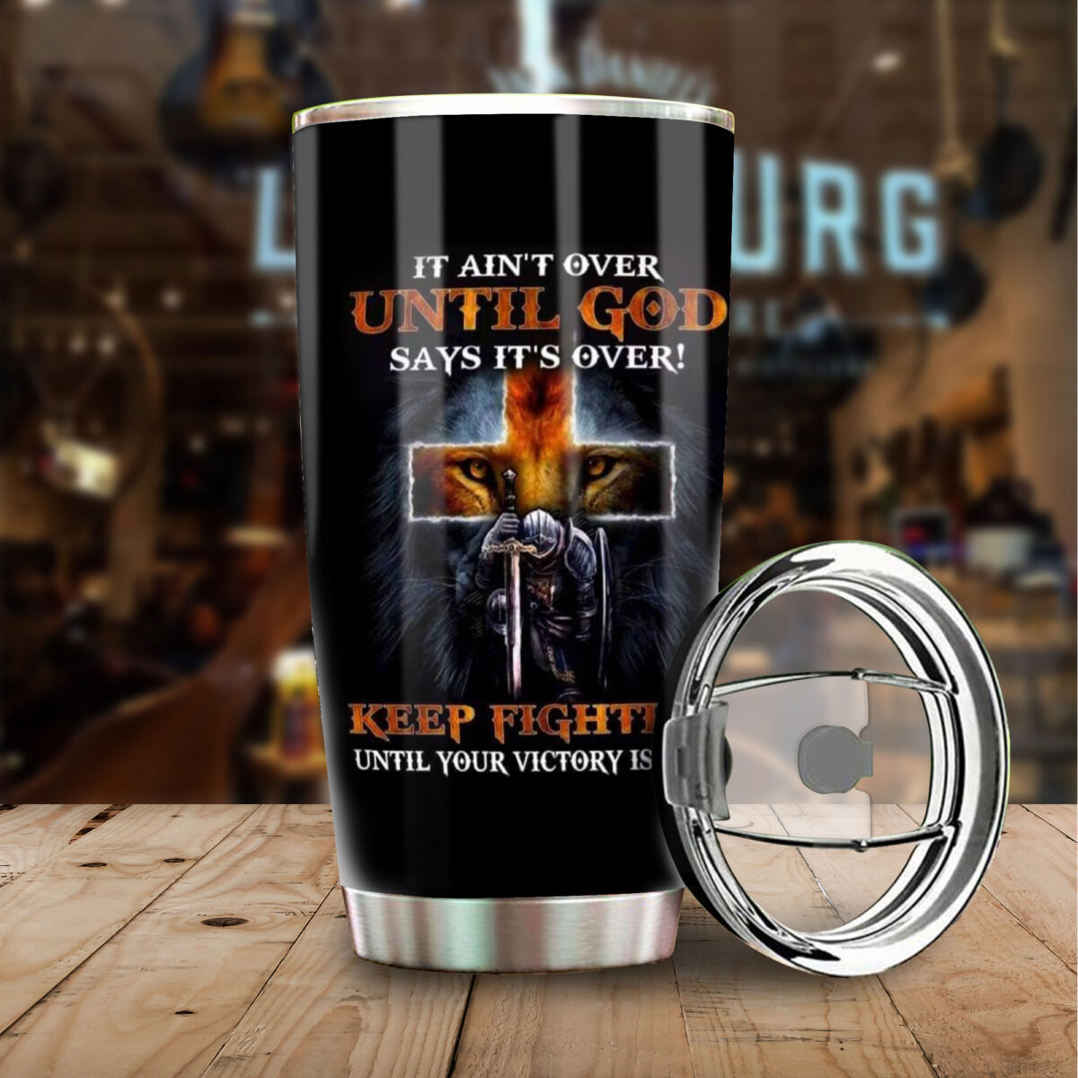 knight templar it aint over until God says its over all over print stainless steel tumbler 4