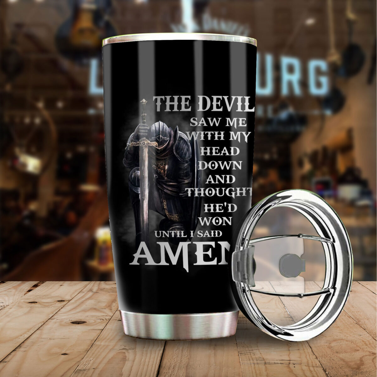 knights templar the devil saw me with my head down and thought hed won until i said amen stainless steel tumbler 3