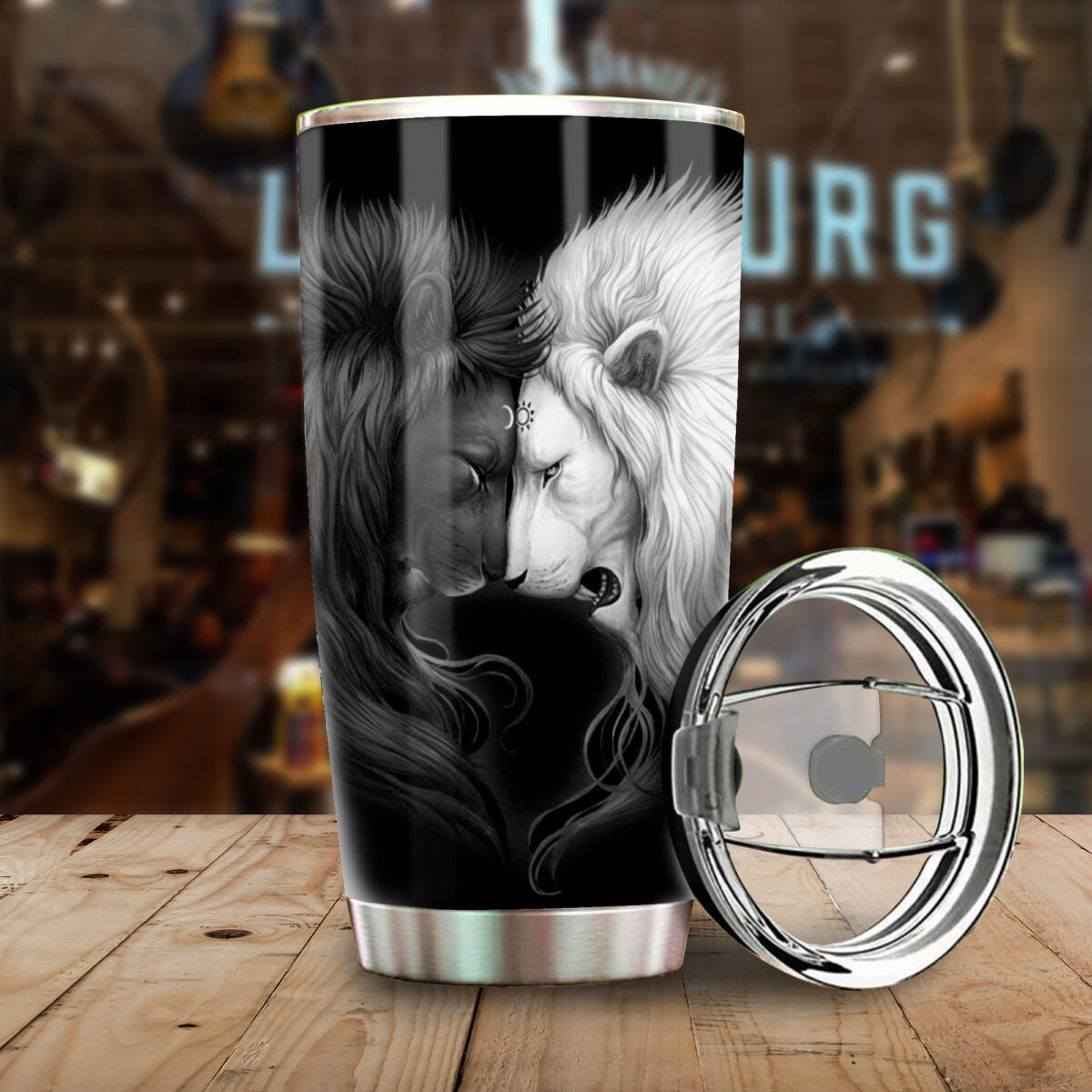 lion black and white all over print stainless steel tumbler 2