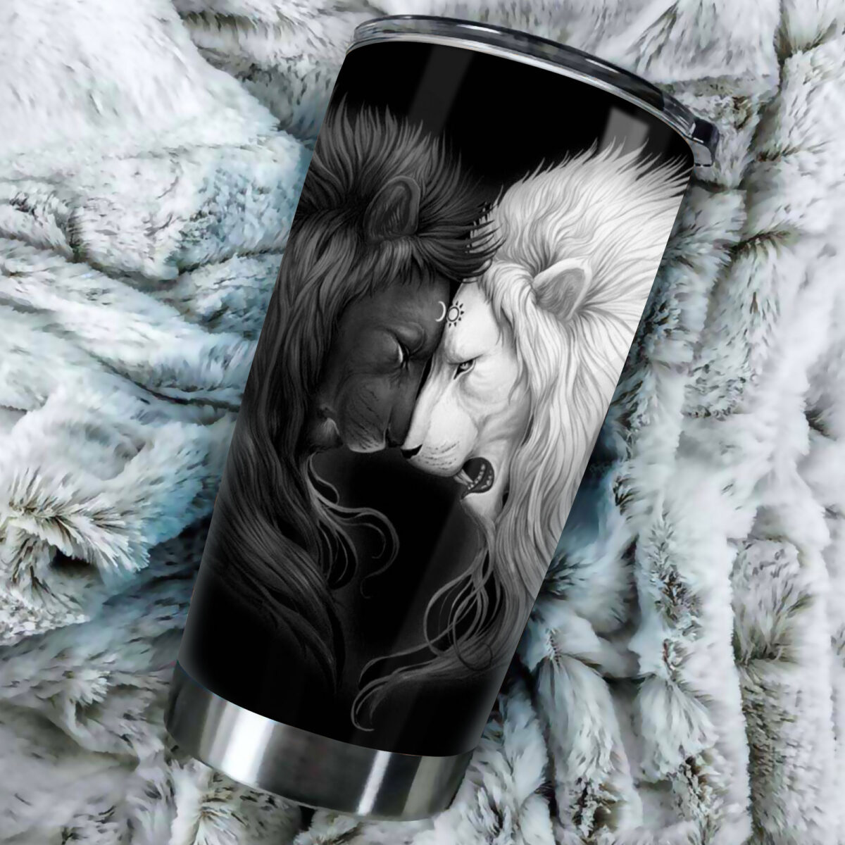 lion black and white all over print stainless steel tumbler 3