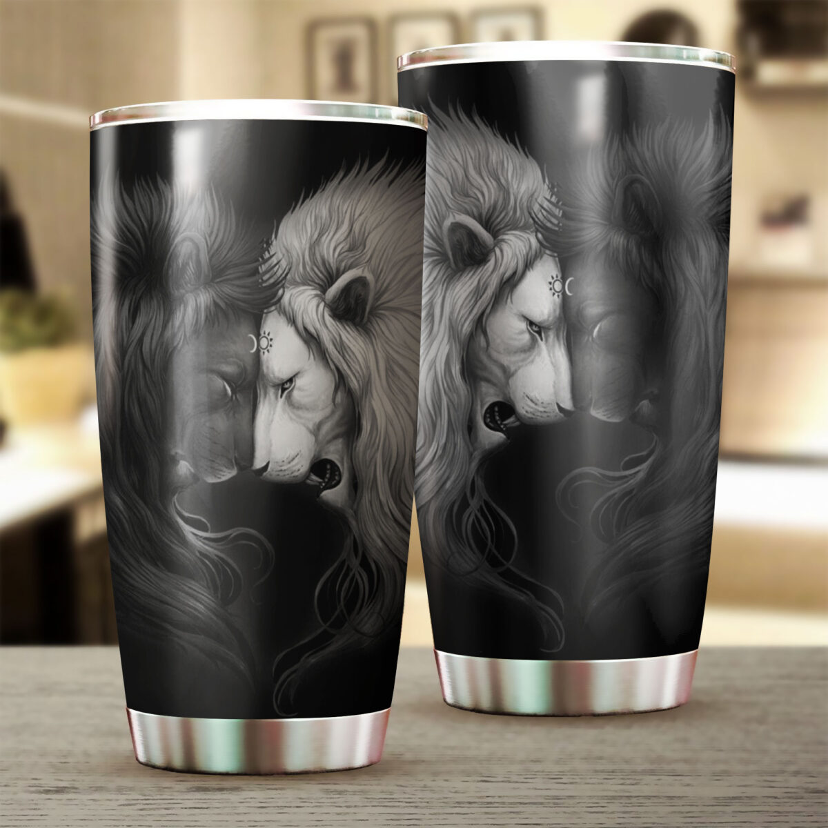 lion black and white all over print stainless steel tumbler 4