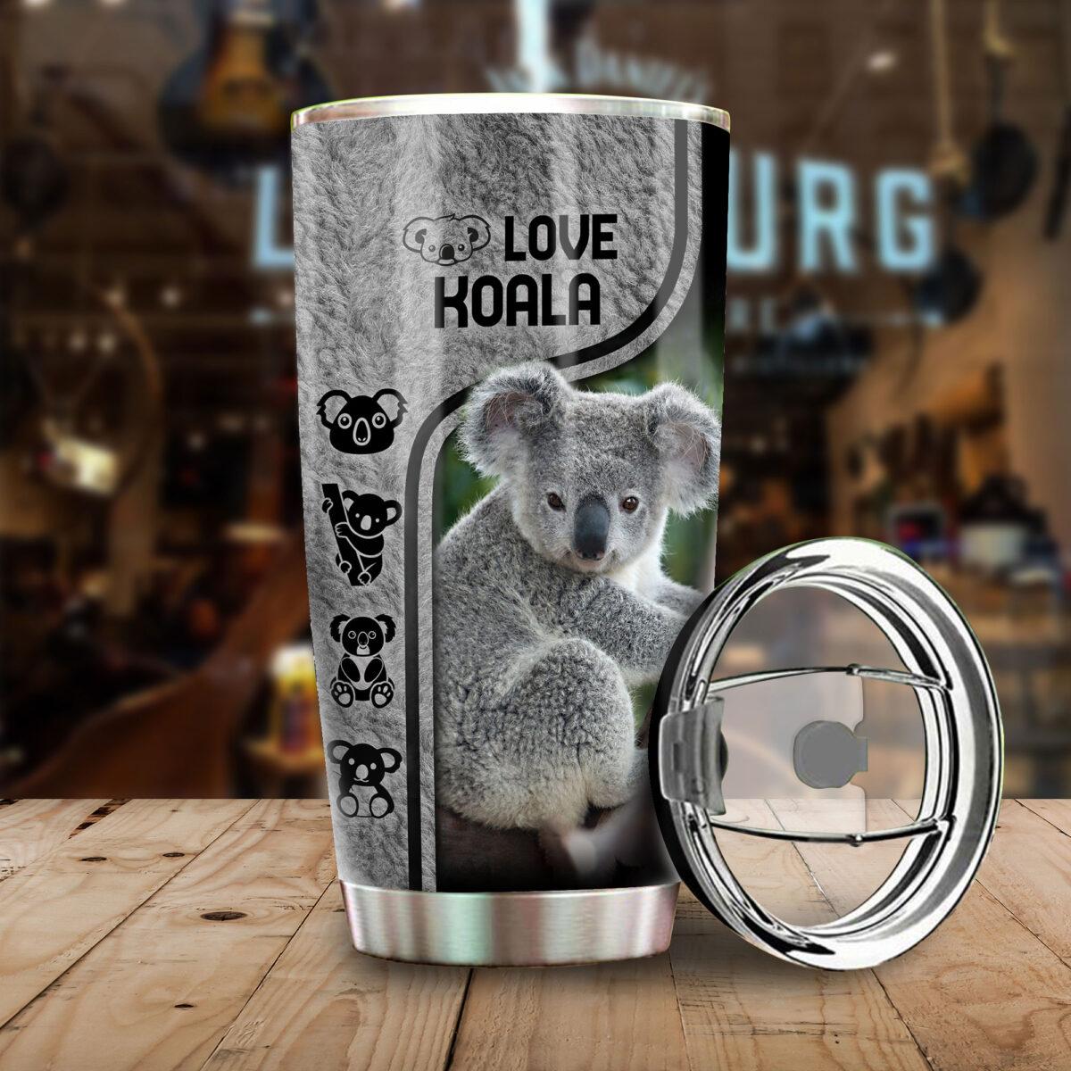 love koala all over print stainless steel tumbler 3