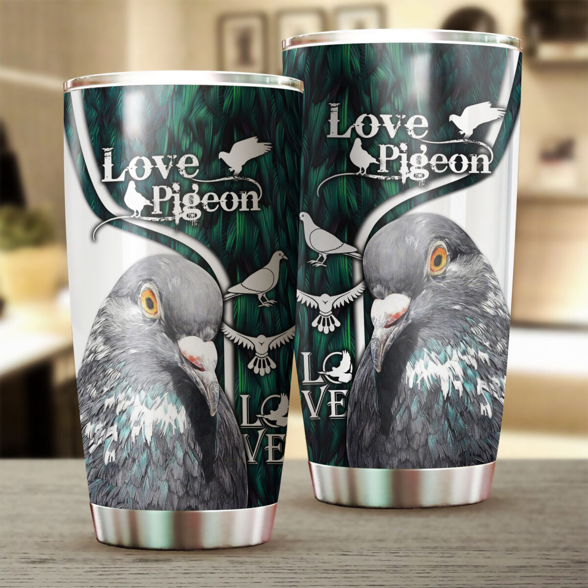 love pigeon all over print stainless steel tumbler 3