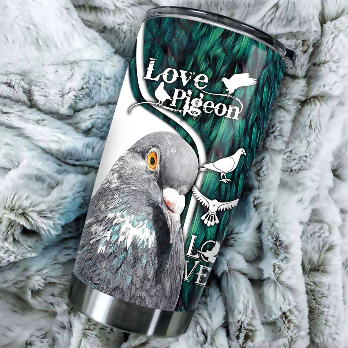 love pigeon all over print stainless steel tumbler 4