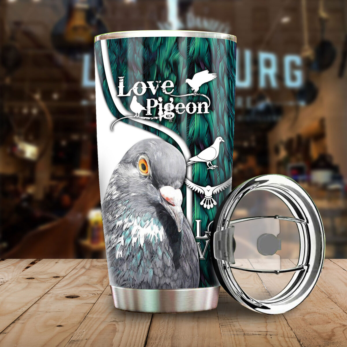 love pigeon all over print stainless steel tumbler 5