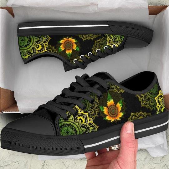 mandala sunflower cannabis full printing low top shoes 1