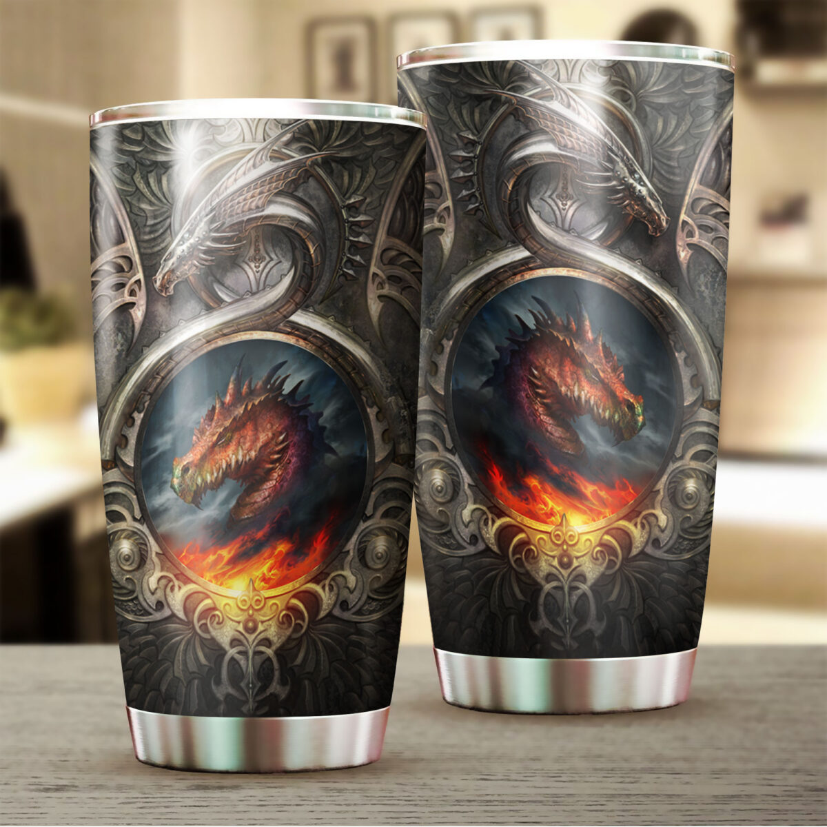 metal dragon fire all over print stainless steel tumbler 2