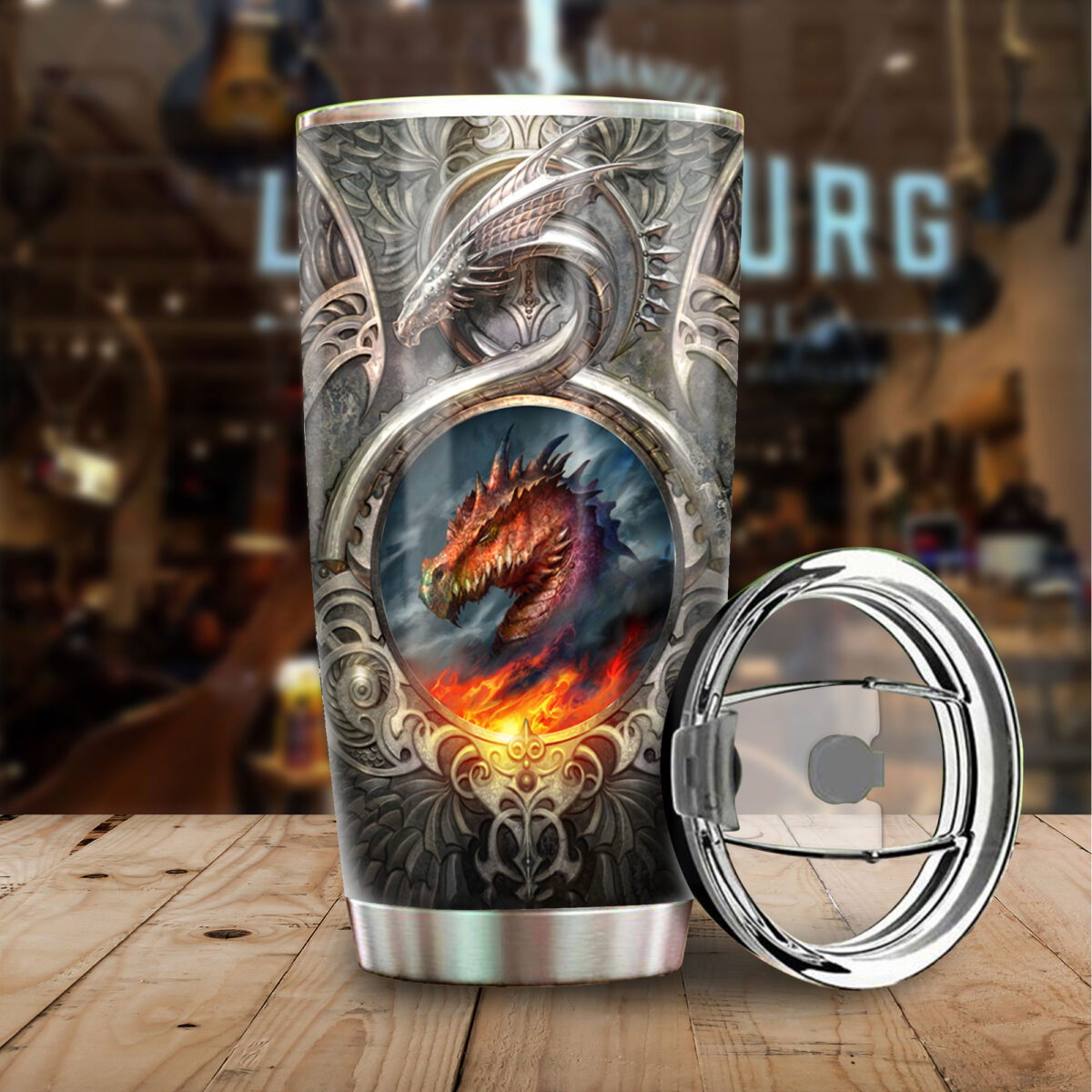 metal dragon fire all over print stainless steel tumbler 3