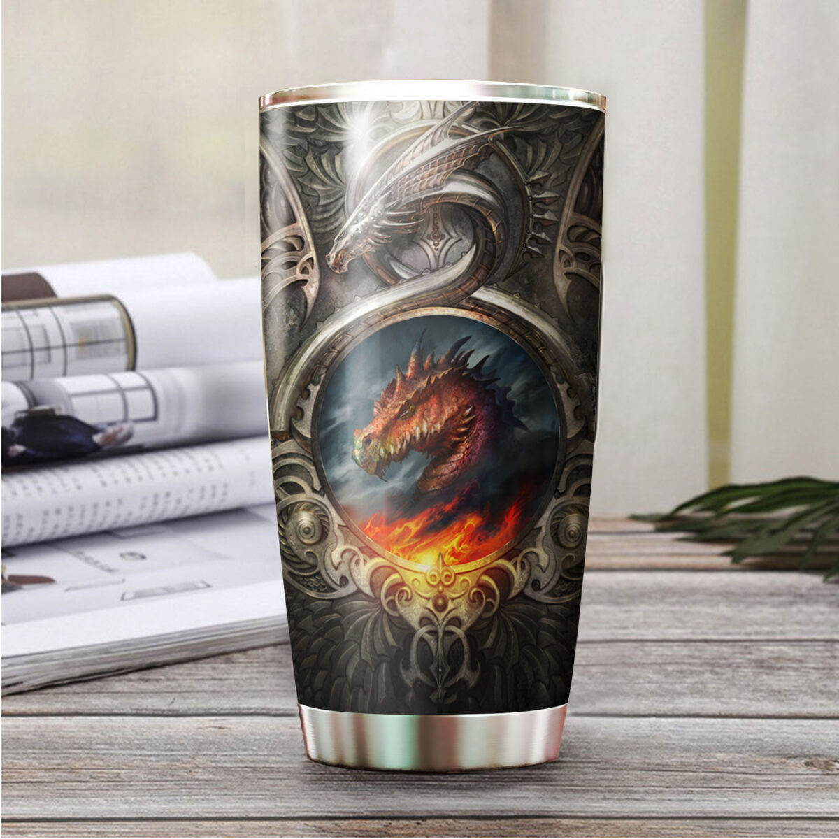 metal dragon fire all over print stainless steel tumbler 4