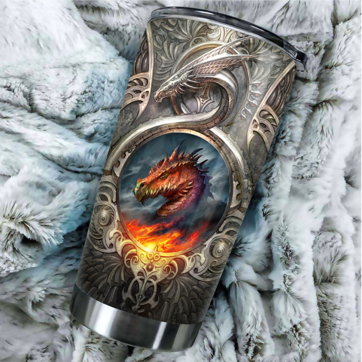 metal dragon fire all over print stainless steel tumbler 5