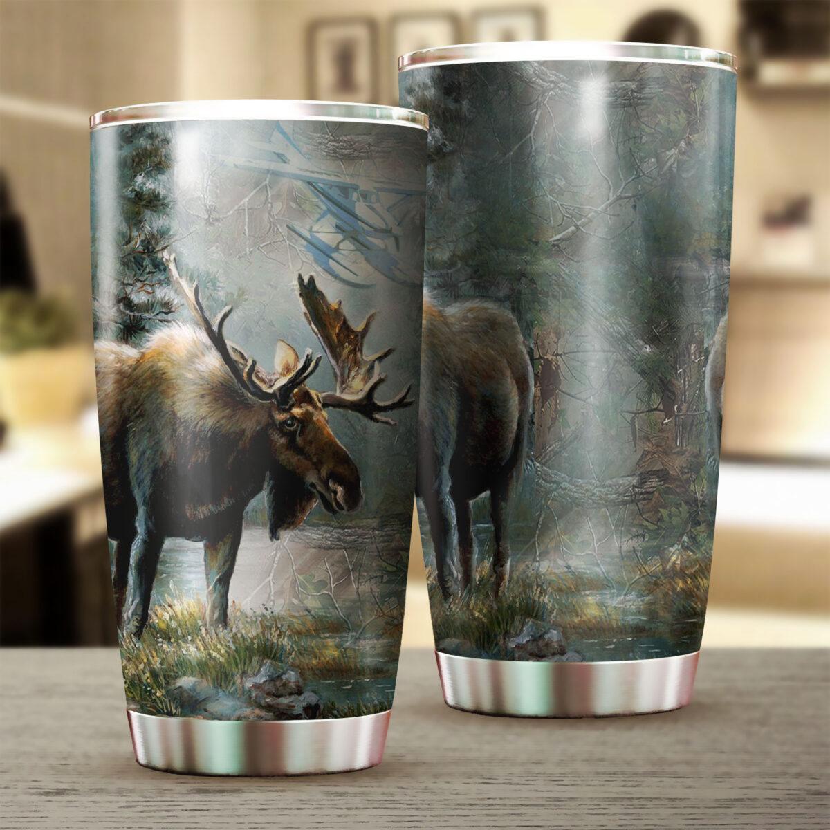 moose hunting season all over print stainless steel tumbler 2