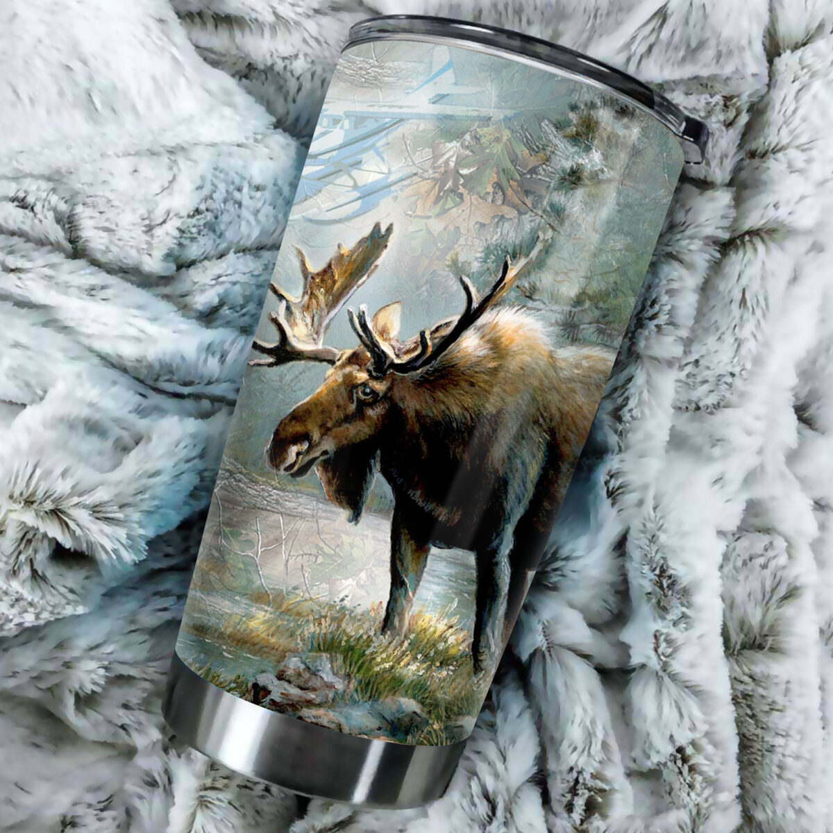 moose hunting season all over print stainless steel tumbler 3