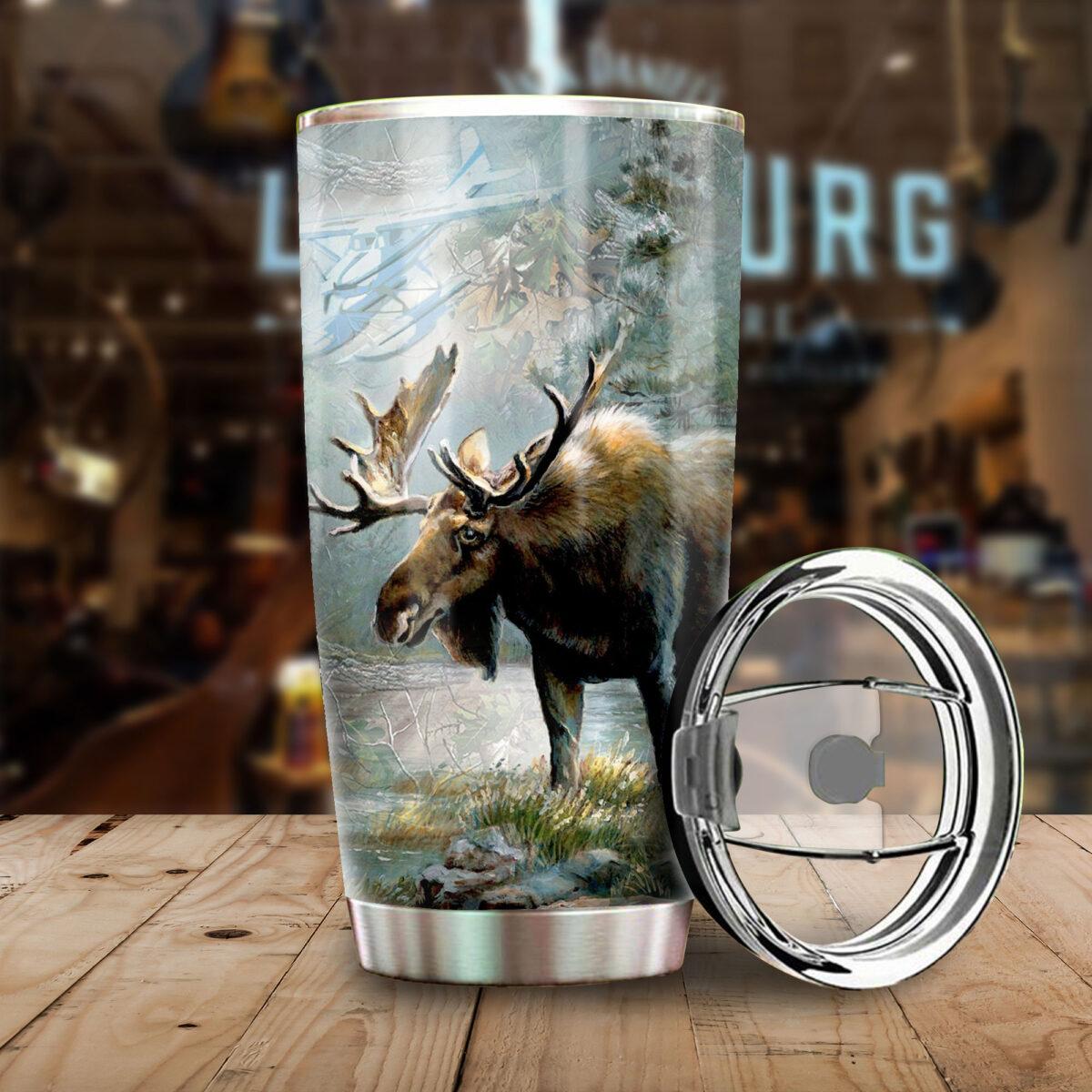 moose hunting season all over print stainless steel tumbler 4