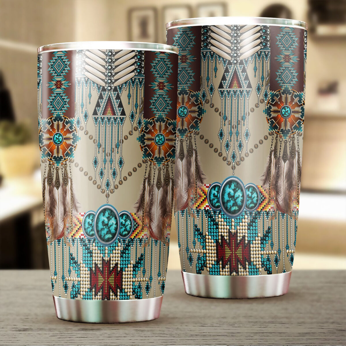 native american art all over print stainless steel tumbler 2
