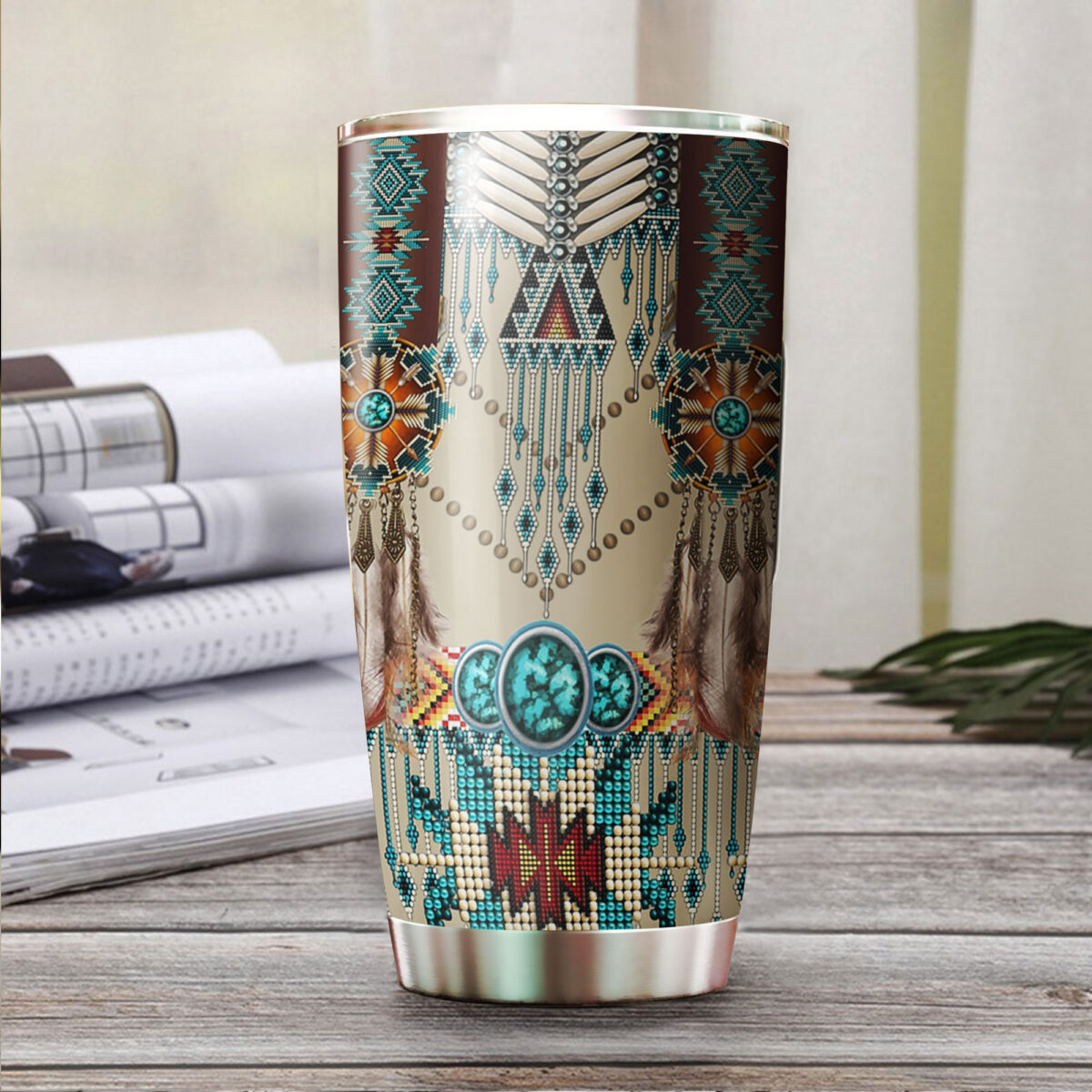 native american art all over print stainless steel tumbler 3